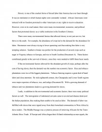 essay about slavery in america