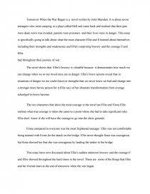 essay on ellie in tomorrow when the war began