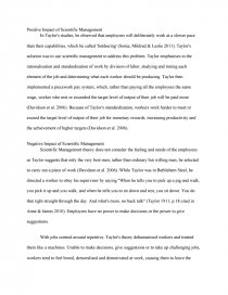 Essay Style Paper  Time Management Essays also Biographical Narrative Essay Example Positive And Negative Impact Of Scientific Management  Essay Hotel Management Essay