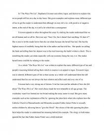 The Ways We Lie  Essay Essay Preview The Ways We Lie