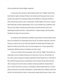 of mice and men and freak the mighty comparison essay zoom zoom
