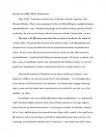 essays on frankenstein romanticism