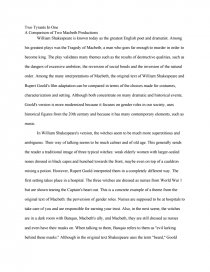macbeth comparative essay a comparison of two macbeth  zoom zoom zoom