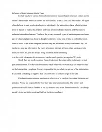 influence of entertainment media paper essay similar essays the influence of media