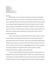 the blind side film review essay Taken in by a well-to-do family and offered a second chance at life, a homeless teen grows to become the star athlete projected to be the first pick at the nfl draft in this sports-themed comedy drama inspired by author michael lewis' best-seller the blind side: evolution of a game.
