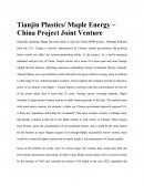 Tianjin Plastics/ Maple Energy – China Project Joint Venture